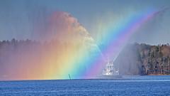 Montfred and the rainbow (Franz Airiman) Tags: rainbow regnbåge bay fjärd lillavärtan lillavärtanbay båt boat ship fartyg bogserbåt tugse tug tugboat stockholm sweden scandinavia watersalute vattensalut vattenkanon watercannon montfred sjömärke påle pinne buoy