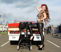 Holly_7824 (Fast an' Bulbous) Tags: chevrolet camaro racecar promodified v8 fast speed power motorsport car vehicle automobile outdoor people wife girl woman hot sexy chick babe pinup model beauty long brunette hair leopardprint leather pvc jeans leggings high heels stiletto shoes legs