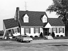 Atlantic Reality Sales, Inc, W. L.. Mountjoy Agency, damaged house-office, what gives? in Virginia, July 1976 (alcomike43) Tags: virginia town city homeoffice wlmountjoyagency atlanticrealtysalesinc realestate house damage building office photo photograph photoprint old historic vintage classic vehicle