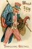 Uncle Sam's Thanksgiving Greeting (Alan Mays) Tags: ephemera postcards greetingcards greetings cards paper printed thanksgiving holidays november turkeys birds poultry animals patriotic stars stripes shields flags unclesam men hats beards illustrations red white blue gold 1910 1910s antique old vintage typefaces type typography fonts