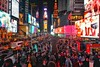 Some quality screen time in Time Square anyone? (beyondhue) Tags: time square new york city manhattan night screen billboard people beyondhue usa travel crowd busy