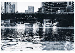 Resting In the Afterglow (swanksalot) Tags: chicago chicagoriver blue toned blackandwhite bw reflection statest bridge loop marinacity tweeted