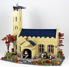 Medieval church - Kurvenheim - Nine Kingdoms (noggy85) Tags: lego moc landscape medieval middleages church kirche ninekingdoms 9kingdoms roguebricks neunreiche pfarrer baum tree bricks steine blau beige blue tan darktan rot orange red kurvenheim dwarfs zwerge eule owl turm tower berge mountains hügel landschaft kreuz cross chapel kapelle