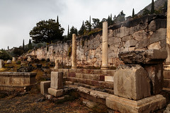 Delphi (CaptSpaulding) Tags: greece delphi old ancient historic building buildings statue stairs rain sky canon color contrast clouds closeup athens bank treasury ruins wall stonework tree