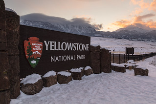 North Entrance sunset after a winter storm