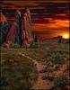 Sunset at Arches (Color Blind 56) Tags: archesnationalpark arches elements13 evening rock rugged utah sunset sunrise photomatix photoshopelements13 landscape sky nikon hdr horizon d7100 dark dramatic desolate dusk sun cb1956 viewpoint mountains