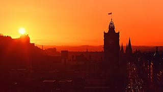 Edinburgh - Sunset from Calton Hill (Velvia 50 film)