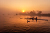 Misty sunrise with rowers (Anthony White) Tags: christchurch england unitedkingdom gb riverstour orange stealingshadows