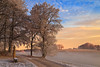 Colours of winter -  explore (Rita Eberle-Wessner) Tags: snow schnee winter baum bäume tree trees path weg feldweg nebel fog hoarfrost raureif himmel sky sonnenaufrgang sunrise morgen morning bank bench odenwald wolken clouds