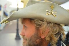 A Texas sighting in California (radargeek) Tags: monterey ca california hat texas pin swords crossed beard farmersmarket market downtown 2017 march