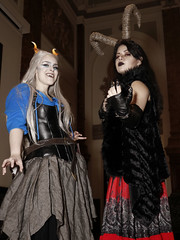 Ice Demoness & Krampus (greyloch) Tags: dccosplays costumes smithsonian nationalportraitgallery 2017 monsters canonrebelt6s photoshop niksoftware colorblock friends magmod