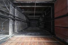 Abandoned elevator (lenswrangler) Tags: lenswrangler digikam elevator shaft flickrfriday chainedtothesky winehaven wood cable