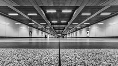 Wide Empty Spaces (laga2001) Tags: wide wideangle building architecture modern contemporary hall station light big low pov floor black white monochrome bw bnw huge impressive empty space
