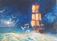 MOONSHINE (tomas491) Tags: moon seilboat skip seagulls houses lighthouse waves tree moonlight stars sky clouds
