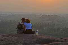 THE KISS (GOPAN G. NAIR [ GOPS Photography ]) Tags: gopsorg gopangnair gops gopsphotography gopan photography kiss hampi india karnataka hill top sunset love couple rock