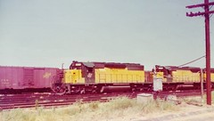 Chicago Northwestern SD40-2 and SD45 locomotives at Council Bluffs in 1975 (Tangled Bank) Tags: train trains railway railways railroad railroads old classic heritage vintage cnw north fallen flag western chicago northwestern sd402 sd45 locomotives council bluffs 1975
