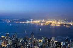 hong kong harbour (Greg Rohan) Tags: hongkongcity city cityscape skyscrapers skyline buildings bridge boats travel ocean sea water hongkongharbour hongkong harbour golden nightphotography nightlights lights blue asia china d7200 2017 sky boat mountain building bay