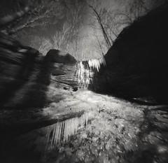 Frozen Falls and Stream (summit-photo) Tags: realitysosubtle pinhole waterfall fujifilm neopan acros rodinal semistand bnw bw blackandwhite monochrome