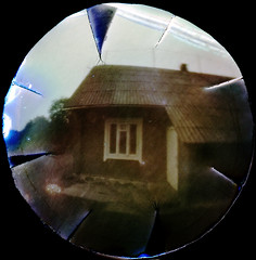 Beer cap solargraphy (batuda) Tags: pinhole obscura stenope lochkamera beer beerlid lid analog analogue paper kodak polymax 25 undeveloped unfixed sun solar solargraph solargraphy solarigrafia color colour house building countryside track trail arch solarpath šinkūnai tauragnai utena lithuania lietuva 1