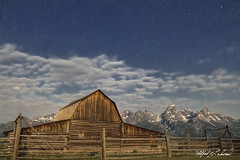 Starry Night Over John Moulton Barn_27A1165 (Alfred J. Lockwood Photography) Tags: alfredjlockwood nature landscape nightsky nightscape stars clouds johnmoultonbarn grandtetonnationalpark tetons grandteton middleteton rockymountains teewinot summer wyoming