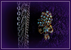 6088  Chains and  brooch. (Andy - Tak'n a breever) Tags: bbb brooch jewelry jjj lll lowkey necklace nnn picasaborder picasavignette ppp purple towels ttt