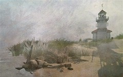 Lighthouse @ Tranquility Dreams (ᗷOOᑎᕮ ᗷᒪᗩᑎᑕO) Tags: secondlife lighthouse tranquility dreams sea wreck rusty sand beach shoreline sky clouds watercolour masterpiece flickr oil canvas grass dunes white summer autumn fall shadows sun plane
