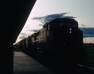 CN 4796 (GP38-2), 4022 (GP9RM), and 4704 (GP38-2) at Dawson Creek, BC on May 26, 1992