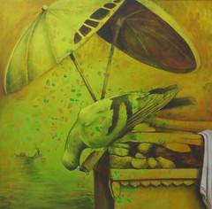 Thirst for Varanasi (notjustartglobal) Tags: notjustart nja india ramraghubirmishra allahabad painting varanasi hinduism ghats disability bird pigeon umbrella oil acrylic