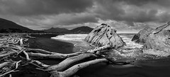 Pahaoa Pano (dave.fergy) Tags: seascape landscape storm coast weather monochrome nik silver efex on1pics photoshop rocks waves beach wood ps water abstract mood silverefex dark driftwood architecture buildingmaterial