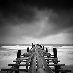 Wood-bridge (pattana92392) Tags: bridge seawave sea longexposure sunset coast blackwhite