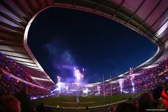 Lights Out (john&mairi) Tags: scotland newzealand rugby international allblacks autumn test murrayfield stadium edinburgh lightsout fireworks searchlights smoke