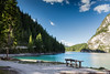 with complete peace of mind (ylemort) Tags: nature lake mountain forest landscape water scenics outdoors summer tree sky travel beautyinnature rockobject greencolor blue mountainrange reflection tourism vacations everypixel dolomites lago di braies canon canon5dmkiv italia italy