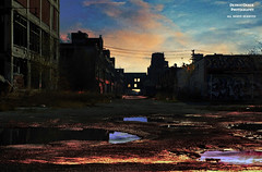 Underneath The Underdog (DetroitDerek Photography ( ALL RIGHTS RESERVED )) Tags: allrightsreserved 313 detroit city urban blight bleak ruin icon packard automotive automobile plant factory albertkahn sunset reflection warrensky contrastyonpurpose outline light dark canon nothdr digital eos detroitderek abandoned car motown motorcity clouds sky silhouette opening alley charlesmingus november 2017 archive