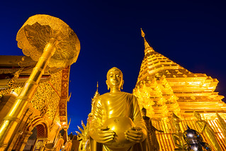 Dusk scence of Wat Phra That Doi Suthep temple is a popular temple of Chiang Mai, Thailand.