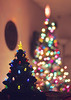 Little N' Big (Tiara Rae Photography) Tags: double trees ceramic christmas decorations tree lights bokeh multicolored depth field evergreen dark night photography nebraska