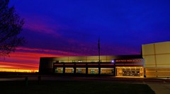 Beatrice High School (Tim @ Photovisions) Tags: beatrice nebraska sky dawn cloud sun sunrise sunset dusk school highschool building clouds