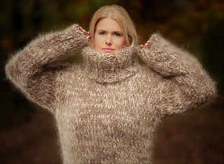 Chunky hand knitted mohair turtleneck