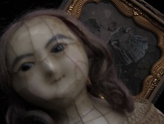 YUELIANG_slit-head wax doll_1820 & ambrotype (leaf whispers) Tags: wax doll antique creepy scary bizarre weird obsolete toy cracked crazing human hair real victorian 19th century 1800 entropy distressed mad alice montanari papier mache paper haunted spirit ghost witch lady slit slithead auction for sale head edwardian georgian death memento mori decay grief loss horror sinister haunting evil chiaroscuro shadow shadows mourning melancholia melancholy queen ann anne ferrotype daguerreotype photo fashion ambrotype tintype eerie old photographie ancienne
