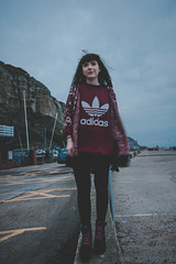 Pay me plz adidas (ashleyhoughtonmedia) Tags: hastings portrait photography fashion adidas lightroom canon 70d beach sea model lily blue smith f18 east sussex leggings jumper boots pink moody clouds weather exposure england