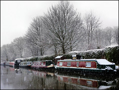 Winter on the canal. (Country Girl 76) Tags: winter scene leeds liverpool canal boats swans ice snow reflections trees north yorkshire