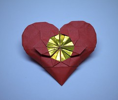 IOIO 2017 - Flower in a Heart (Tankoda) Tags: origami art paper heart flower ioio 2017 andrey lukyanov travis nolan red yellow orange gold blue white