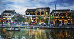 city of charm . . . (YvonneRaulston) Tags: vietnam hoi an atmospheric art blue boat creativeartphotography clouds colour dream dusk emotive texture peaceful people fineartgrunge soft glow sky moody moments canon photoshopartistry water river charm city lights sundaylights landscape