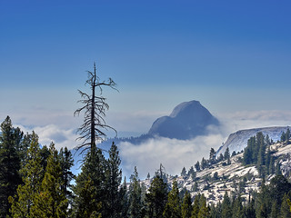 Forest Fire in Yosemite National Park - Clouds of Smoke around Half Dome