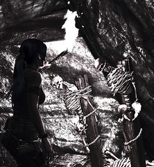 """Lost souls"" (L1netty) Tags: pc games gaming reshade screenshot tombraider 4k squareenix crystaldynamics character srwe videogame laracroft lara girl people cave torch skeleton color"