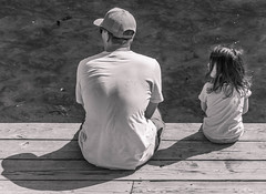 Take the time. (katebosworth1) Tags: kyoto father daughter monochromatic water wood family shadows