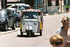 Smokin'. Scilla, Italy, june 17 (arsenterzyan) Tags: ngc eos3 portra160 35mm smoking car italy travel calabria street beach sun driver cigarette film analog grain canon europe scilla