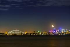 Goodnight Sydney (ourkind) Tags: sydney nightscape newsouthwales night nightsky nsw visitnsw australia glow city cityscape citylights lights landscape sydneyharourbridge sydneyharbour moon earthshine vivid