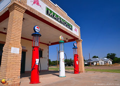 Route 66: Magnolia Gas in Shamrock, TX (DTA_6642) (masinka) Tags: blue red station gas vintage gravity pump 66 route66 motherroad texas tx shamrock roadtrip usa us american travel photography 2013 etbtsy bright bold colors roadside attraction