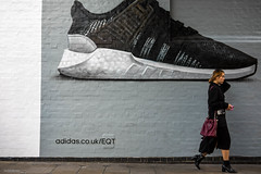 Commercial Graffiti (Silver Machine) Tags: london bricklane streetphotography street girl walking photographer camera trainers adidas graffiti wall art fujifilm fujifilmxt10 fujinonxf35mmf2rwr