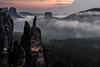 the castle (www.powerofadventure.de) Tags: elbsandsteingebirge sandstone elbe dresden häntzschelstiege labe trees forest sunset sonnenuntergang farben color mood baum wälder wald gebirge nebel fog landschaft felsen berg himmel